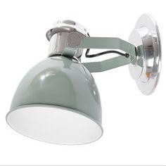 Applique avec prise bleu pastel New York Cylinder - Wall Lights, Cylinder, Standard Lamps, Lamp, Interior Design Inspiration, Lamp Light, Lights, Wall Lamp, Vintage Green