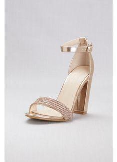 9e21d6fe331f8e Crystal-Strap Metallic Block Heel Sandals BRYNNE Wedding Shoes Block Heel