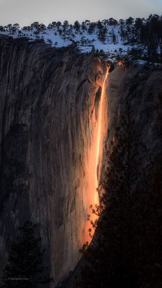 Once a year the sun hits Horsetail falls Yosemite just right to make it look like it's on fire. Photo by Sangeeta Dey [1125x2000]