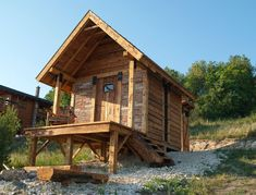 "Tiny house in Messelia hills at Pomaz, Hungary. Owned by Imre Kovács. From Imre… ""I built it with 99% reclaimed materials, with one helper and in about 5 weeks. The total cost was about 4300 us dollars. (plus my labor wich i did not count)."""