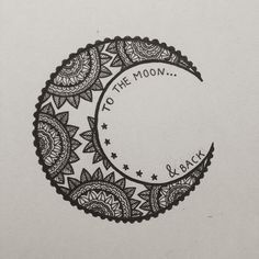 to the moon & back | aztec design | hand drawn