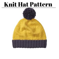 Grab this pattern for a 2 Color Knit Beanie to crush your cabin fever! | Knit Patterns | Knit Hat Patterns | Knit Hats