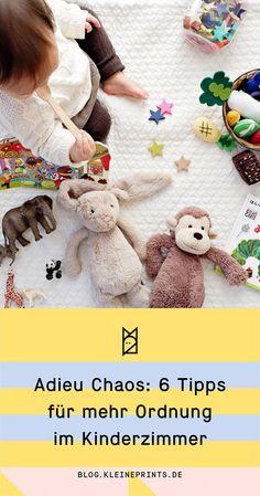 6 einfache Ideen für (etwas) mehr Ordnung im Kinderzimmer! #kinderzimmer #ordnungkinderzimmer Life Hacks, Dinosaur Stuffed Animal, Teddy Bear, Kids, Blog, Organization, Creative Ideas, Diy, Prints