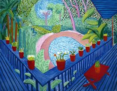 Here is my watercolor version of a David Hockney painting called Red Pots in the Garden . I really liked painting this way, with lots o. David Hockney Landscapes, David Hockney Artist, David Hockney Paintings, David Hockney Pool, Robert Rauschenberg, Pop Art Movement, Tate Britain, Edward Hopper, Paul Klee