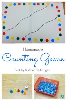 Homemade Counting Game. A super easy game you can make to help your preschool kids practice counting and one-to-one correspondence. - Pre-K Pages