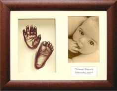 "New Baby Casting Kit with Large 3D Box Display Frame in Dark Rustic & Bronze Metallic Paint by BabyRice. A fabulous and unique keepsake product - everything is included to make up to 6 different casts of a newborn baby and display them in the included frame!. Create up to 6 different casts for a newborn (or 2-3 casts for a 3 year old). Area to display casts is 6.5x4.5"" and photo space is 6x4 (standard sized photo) plus space for baby's details. A beautiful and unique Baby Keepsake…"