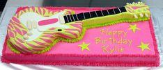 super cool zebra guitar cake lime and pink #kidsguitar