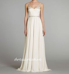 Sweetheart Long Ivory Chiffon Wedding Dress with by DressCreative, $188.00