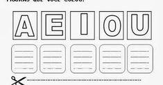 Educação Infantil - Alfabetização - Atividades para Imprimir Vogais A E I O U letras escrever copiar recortar colar FONTE:…