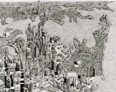 Benjamin Sack's incredibly detailed drawings of imaginary cityscapes.