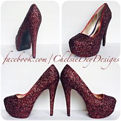 Burgundy High Heels Dark Red Glitter Heels Maroon Shoes Sparkly... ($72) ❤ liked on Polyvore featuring shoes, pumps, black, women's shoes, black high heel shoes, wine pump, red bow pumps, high heel pumps and black pumps