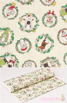 cream oxford cotton fabric with red green leaf garlands and cute animals like penguins, reindeers in Santa Claus costume, very high quality fabric, typical perfect Japanese quality #Cotton #Oxford #Animals #AnimalPrint #Christmas #OtherAnimals #Insects #JapaneseFabrics Leaf Garland, Oxford Fabric, Santa And Reindeer, Christmas Fabric, Garlands, Red Green, Penguins, Insects, Cotton Fabric
