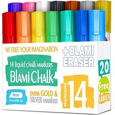 HIGH QUALITY & AMAZING VIBRANT COLORS: We always strive to provide you the best quality. We use high quality chalk ink and durable tips both made in Japan. Smooth and vibrant eco friendly colors will amaze your kids and make them forget about computer games and mobile devices. SAFE COLORS FOR YOUR KIDS: 14 eye-catching, non-toxic, water-based, quick dry, dust-free, bright, opaque and vivid colors. Draw bold and fine lines with REVERSIBLE chisel and bullet point tip which