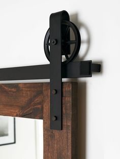 This is a BEAUTIFUL Vintage steel sliding barn door hardware set. Made in the USA from high quality steel. ( Lifetime Warranty ) Includes: Track - 2 Wide Rollers - 5 Diameter, 1 Deep Wall Spacers Door Stops Floor Guide Measures approximately 9 from Sliding Door Handles, Sliding Door Systems, Sliding Barn Door Hardware, Sliding Doors, Barn Door Closet, Barn Door Track, Exterior Door Hardware, Exterior Doors, Door Displays