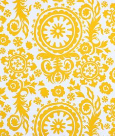 Premier Prints Suzani Corn Yellow Twill Fabric | onlinefabricstore.net  Comfy reading chair in living room.