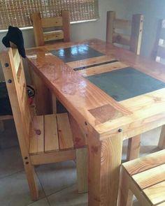 mesa de comedor rustica de pino oregon