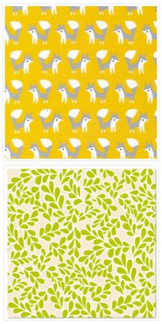 Foxes and Boxwood Prints in gold and chartreuse / organic cotton #kids #decor #crafts
