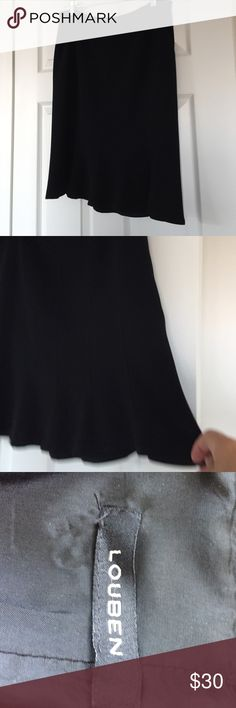 Darling gored swing skirt Black skirt with panels like an A-line but it flares and flutters at the bottom.  New never worn. Canadian. Fully lined back zipper  no material tag but a lightweight, moves freely and doesn't wrinkle.  All you need are stilettos and your ready for night out Louben Skirts A-Line or Full