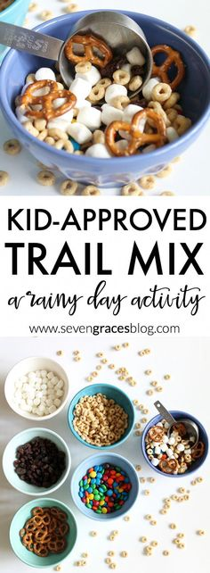 A kid-approved trail mix! This is a the best trail mix recipe for kids. Make this as a rainy day activity or anytime. This trail mix is definitely a favorite and so easy your kiddo can make it on her own. healthy snacks for kids - easy Baby Food Recipes, Snack Recipes, Kid Recipes, Jello Recipes, Whole30 Recipes, Vegetarian Recipes, Healthy Recipes, Healthy Meals, Camping Recipes