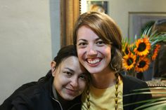 Karime and Isabel Dudley (our official Dragon King photographer) cheesing it up! Cafe San Sebas, Cuenca, Ecuador!