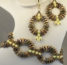 Rippling Ovals Bracelet and Earrings featuring Primrose Yellow