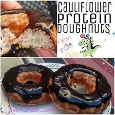Cauliflower Protein Donuts with Chocolate Glaze (gluten-free) My Protein Pancakes, Protein Donuts, Protein Cake, Protein Snacks, Protein Deserts, Protein Bread, Protein Cookies, High Protein, No Carb Recipes