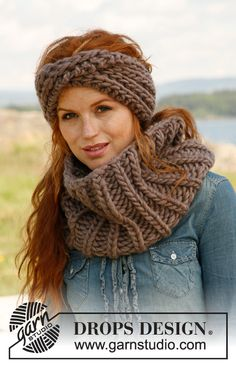 "Bold and Beautiful - Patentstickat DROPS pannband och halsvärmare i ""Polaris"" - Free pattern by DROPS Design"