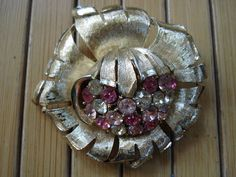 Vintage 1950s Rhinestone Brooch Pin Pink Atomic by bycinbyhand