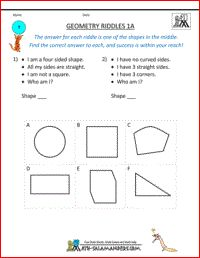 Geometry Riddles 1A, 1st grade geometry riddles