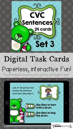 Practice CVC words and Sight Words in this interactive digital task card deck. Student's get immediate feedback and a progress report is recorded for teachers. (Learning with Sunflower Smiles)