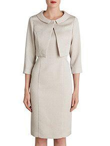 Bow jacquard dress and jacket