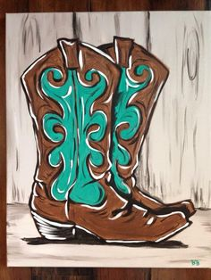 """""""These Boots Are Made For Walking"""" by Brandy Brown for Sparrow Pond Campground's Sip.Paint.Create.  Adult Canvas Painting Class"""