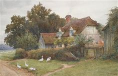 Charles Edward Wilson Geese before a cottage  1889