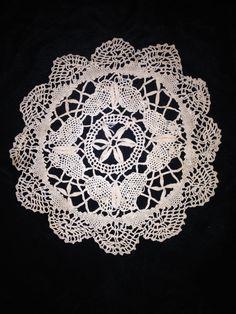 "Vintage 6 1/2"" Doily Butterfly Round Fine Dainty Handmade Bobbin Lace"