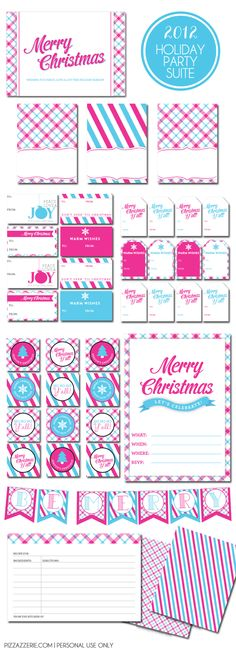 Free Holiday Printable Suite in Modern Pink & Aqua!  Contains invites, recipe cards, food tent cards, gift tags (2 styles), patterned paper, banner, + more!