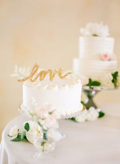 Glittery cake topper: http://www.stylemepretty.com/2014/11/06/summer-winery-wedding-with-pops-of-pink/ | Photography: KT Merry - http://www.ktmerry.com/