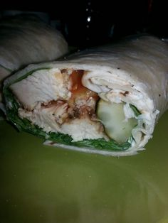 grilled buffalo chix wrap with mayo,  spinach,  croutons and a pickle! !