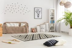 Soft and calm gender neutral baby room with beige accents stock photo - 81304323 Girl Nursery Themes, Baby Nursery Diy, Baby Nursery Neutral, Gender Neutral Baby, Toddler Worksheets, Yellow Walls, Minimalist Decor, Modern House Design, Modern Decor