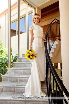 Classic cream gown with beautiful golden lace by ALEKS BRIDAL