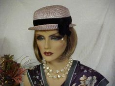 SALE  Little derby hat with black velvet band and dangling faux pearl- turned up front brim- fits 21 and 1/2 inches