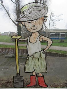 Boer Boris gaat naar zee. Raamschildering Smurfs, Garden Sculpture, School, Outdoor Decor, Painting, Character, Google, Art, Growing Up