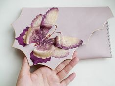 Dusty pink butterfly clutch Bridesmaid butterfly by spiculdegrau