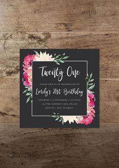 Printable Watercolour Floral Birthday Invitation / Available on Etsy / By Rachel Vanderzon 18th Birthday Invites, Diy Birthday Invitations, 21st Birthday Cakes, Farm Birthday, Printable Invitations, Rustic Invitations, 1st Birthday Parties, Birthday Banners, Vegas Birthday