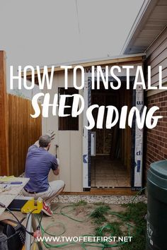 Wooden siding can look great on a storage shed. With these tips and instructions, installing the siding panels and trim can be easy. This DIY shed siding can save you money and achieve fantastic results. #twofeetfirst