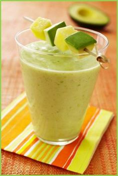 Pineapple Avocado Smoothies:::  One of the BEST smoothies I've ever tasted!!!    Ingredients:  1 fully ripened avocado from Mexico, halved, pitted, peeled and diced  1 20-ounce can pineapple chunks in juice  2 cups ice    Preparation:    In blender container, combine avocado, pineapple plus its juice and ice; whirl until smooth.    Add sweetener of choice if desired. Serves 4.