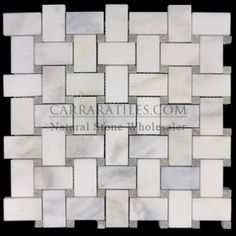 Calacatta Gold Italian Marble Basketweave Mosaic Tile with Pearl Grey Dots Polished