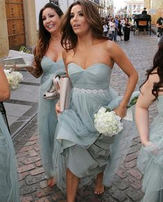 Dust Blue Grey Bridesmaid Dresses Casual Wedding Party Dress Prom Dresses maid of honor dresses soft tulle With Belt Sweetheart Custom Made