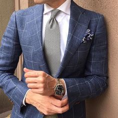Try teaming a navy check suit jacket with a white dress shirt like a true gent. - Try teaming a navy check suit jacket with a white dress shirt like a true gent. Shop this look on - Mens Fashion Blog, Mens Fashion Suits, Mens Suits, Fashion Addict, Fashion Photo, Style Fashion, Fashion Tips, Checked Suit, Checked Blazer
