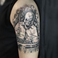 Buddy Rich Drummer Skull Tattoo