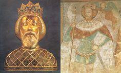 Szent László király 1093-ban alapította a bátai bencés apátságot. Arcvonásait őrzi a fejereklyéje számára készült ezüst herma. Szent László középkori falképen Hungary, Roman, Painting, Lab Coats, Painting Art, Paint, Painting Illustrations, Paintings